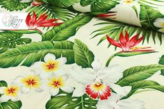 Stoff Blumen - Hawaii Blüten creme Baumwolle - ein Designerstück von Poppy_Ray bei DaWanda