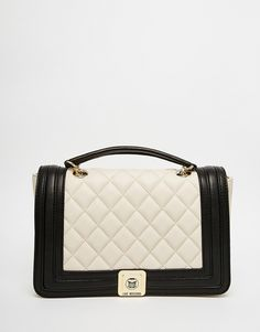 Love Moschino Quilted Shoulder Bag with chain Strap with Contrast Panel