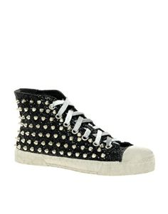 Gienchi Black Glitter High Top Trainers