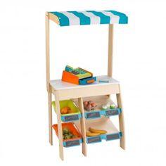 KidKraft Kinder-Marktstand aus Holz mit Stoffmarkise und Kasse