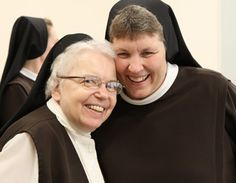 Sr Helen beams with fraternal joy as she congratulates Sister.