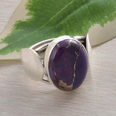 EXCLUSIVE 925 STERLING SILVER PURPLE COPPER TURQUOISE RING 5.48g DJR2242 S-6 #Handmade #Ring
