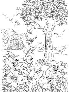 Drawing Flowers & Mandala in Ink - Drawing On Demand Adult Coloring Pages, Garden Coloring Pages, Mandala Coloring Pages, Coloring Pages To Print, Printable Coloring Pages, Coloring For Kids, Coloring Sheets, Coloring Books, Colouring Pages For Adults