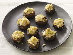 Perhaps the best crabmeat stuffed mushrooms recipe because it is topped off with a bit of mascarpone cheese.