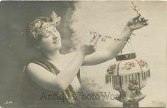 Beautiful nude woman hanging lantern lamp antique art photo pc