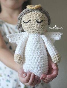 Divine Crochet Angel (Free Pattern) This darling Crochet Angel shares her calming Christmas spirit with all who behold her.Crochet Angel Pattern - Repeat Crafter Me - pinguide tall x wide ~ braided locks cascade down her backHave you been looking for Crochet Angel Pattern, Crochet Dolls Free Patterns, Crochet Angels, All Free Crochet, Christmas Crochet Patterns, Holiday Crochet, Crochet Gifts, Doll Patterns, Crochet Toys