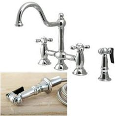 @Overstock - This beautiful bridge kitchen faucet features a classic design. With a chrome finish, this bridge faucet has an eight-inch spread and solid cross handles.http://www.overstock.com/Home-Garden/Chrome-Bridge-Kitchen-Faucet/6613875/product.html?CID=214117 $331.99