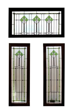 3 Piece Frank Lloyd Wright Style Leaded Glass Windows Transom: 38.5″ tall x 55.5″ wide Side Lights: 64″ tall x 21.75″ wide $3500.