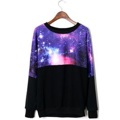 Galaxy Print Sweater ($53) ❤ liked on Polyvore