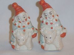 Vintage ceramic Japan circus clowns riding pigs salt & pepper shakers! Unusual!