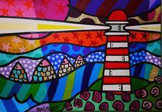 kleurrijk schilderij, kleurrijke schilderijen, vrolijk schilderij, popart, Vuurtoren, zee