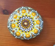 Sunshine Mandala Stone/Dot Art/ Hand Painted home decor/