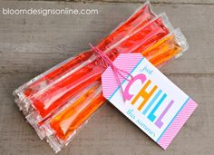 """Just Chill This Summer"" graphic tag. Wrap around some otter pops for the perfect summer gift! by Bloom Designs"