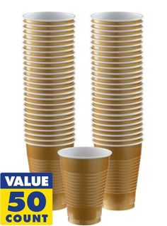These plastic cups come in counts of 50 and can hold up to 12 ounces. Perfect for any holiday, party, or daily use.