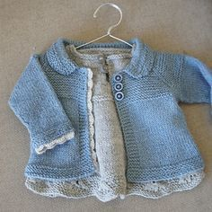 Free pattern for a jacket coat sweater cardigan for baby girl . The dress underneath is a different pattern
