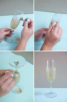 DIY Shimmery Champagne Glasses - glue + glitter + glasses = voila!  perfect for weddings (toasting flutes) or the holidays!