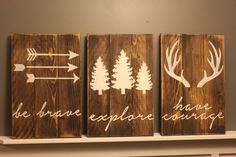 The perfect set for your little explorer! Beautiful hand crafted rustic woodland nursery set made from reclaimed wood, sanitized & sanded down to perfection! Its then stained a walnut stain (pictured)-or a stain colour of your choosing from the sample picture- & lightly distressed. Board width is usually what I have one hand so the signs will be either 3 boards assembled or 2. Because its reclaimed wood & board widths vary some sets will have boards running vertical & some hor...