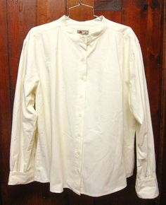 SCULLY Rangewear Ivory Cotton SHIRT/BLOUSE band collar/gathered sleeve XXL exc #Scully #ButtonDownShirt #westernreenactment