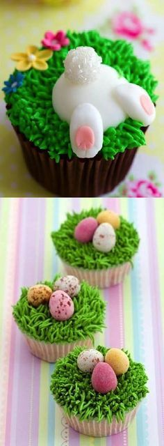 DIY Cute Easter Cupcakes use bundt and put bunny in bundt and eggs around edge.