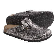 Papillio by Birkenstock Boston Floral Clogs - Leather (For Women) in Pepe Black/Grey