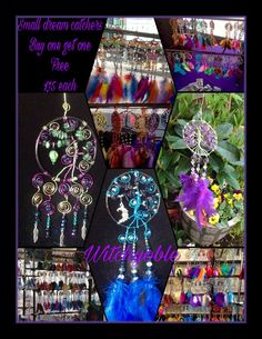 Small dream catchers £15 each buy one get one free, offer only avalible through this market, mix and match colours, to order contact me with your chosen colours, crystals and charms or check the pinned post on my page for ready to post dream catchers free UK postage, contact me if outside the UK for postage quote https://www.facebook.com/Witchyoble-1378484435792016/?fref=ts&hc_location=ufi