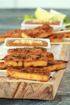 Crispy baked tofu satay served with peanut sauce. This high-protein appetizer is marinaded and then baked for the most deliciously flavored tofu experience. Gluten-Free optional!