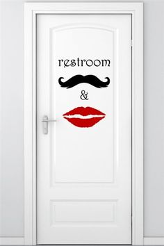 Wall Decals Restroom Graphic Price: $69 Customize Colors, For restrooms that are for guys and gals, this sign is the perfect design.  Contemporary text and graphic make it uniquely visible a: