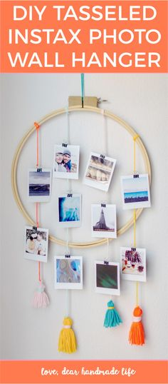 DIY tasseled Instax Wall Hanger from Dear Handmade Life - Easy way to display Instax instant photos