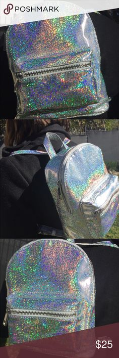 Holographic Mini Backpack Small and supa cute one of a kind backpack  It's not usual you see a holographic backpack. This cute lil bby can be all yours Bags Backpacks