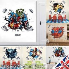 #Avenger 3d batman spiderman iron man #minions crack wall stickers vinyl #decal a,  View more on the LINK: 	http://www.zeppy.io/product/gb/2/282126484307/