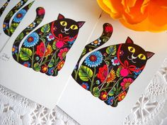 Vintage floral cat playing cards