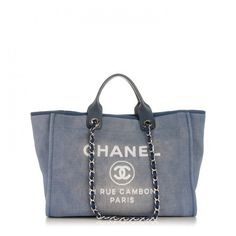 17f89bd446f2 CHANEL Canvas Large Deauville Tote Denim Blue ❤ liked on Polyvore featuring  bags, handbags, tote bags, handbags totes, blue tote bag, chanel purse, ...
