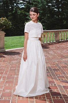 This Italian Lace Crop Top Set | 36 Ultra-Glamorous Two-Piece Wedding Dresses