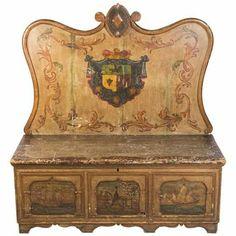 Banco baú. Madeira policromada séc. XVIII