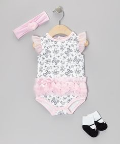 Take a look at this Kyle & Deena Pink Butterfly Tutu Bodysuit Set - Infant on zulily today!