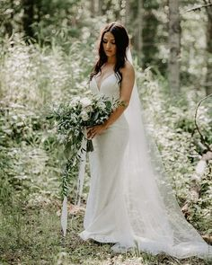 This bride wore an elegant timeless wedding dress. Their wedding photos were in the forest which created a natural vibe. To view more of these forest wedding photos visit Teller of Tales Photography. Wedding Dress Styles, Wedding Gowns, Wedding Themes, Outdoor Tent Wedding, Timeless Wedding, Forest Wedding, Summer Wedding, Green Wedding, Wedding Flowers
