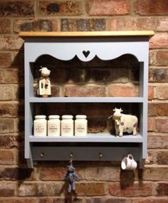 Shabby Chic Cabinet Shelf Unit Wall In Blue For Kitchen Lounge Etc