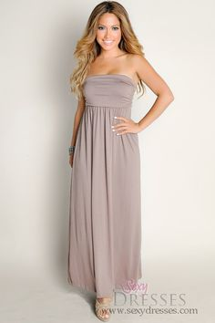 65218e00497 Cute Mocha Brown Summer Dream Strapless Solid Color Tube Top Maxi Dress