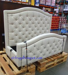 *UPDATE* This traditional bed frame's elegance is elevated with the nailhead trim. Costco has the Pulaski Furniture Queen Upholstered Bed in stores for a limited time. Wooden Trundle Bed, Wooden Bed Slats, Pulaski Furniture, Bedroom Furniture, Home Decor Bedding, Bedroom Decor, Upholstered Queen Bed Frame, Costco Furniture, Painted Bed Frames