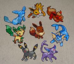 Eeveelution in Hama beads by Stronglulu (DeviantArt) ... I kind of want these to be hanging on my wall ^^