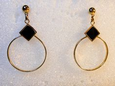 Black Onyx Dangle Earrings  Vintage Hoop Earrings  Etched hoops  Pierced Ears…
