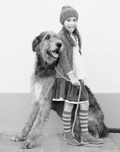 A lovely young girl & a beautiful Irish Wolfhound.