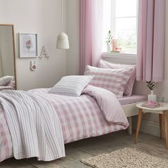 "New, girls bedding set in pink gingham check from designers ""Cottonsoft"" - made from 100% cotton - Gingham Pink Bedding Set is a must have classic for your little girls' bedroom!"