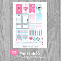 FREE Frozen Treats Planner Stickers for the Happy Planner BY Vintage Glam Studio