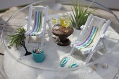 RESERVED FOR AUDREY - Miniature Beach Vacation with tropical drinks, flip flops, and sunglasses by Landscapes In Miniature
