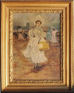 Woman with hat box antique impressionist oil painting by ArtNotch, $2500.00
