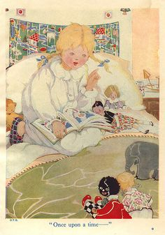 reading to her dolls [Our Tots Bumper Book - toys in bed by moonflygirl, via Flickr]