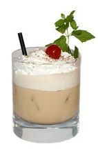 Picture of Christmas Holly. The Christmas Holly drink is made from Kahlua Peppermint Mocha, Disaronno, half-and-half and whipped cream, and served in an old-fashioned glass.