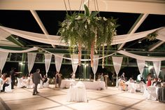At the reception we created a elegant, romantic feel with hanging flowers ahd white drapes to frame the room.
