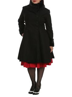 """High quality black poly blend fabriccoat, fully lined in black satin effect polyester, with front & back box pleats and button-over front, fastening to one side with ornate, detailed oversize buttons and faux-fur trim cuffs and high collar.Size 2XL: chest up to 42"""", waist up to 37"""", hip up to 44""""Size 3XL: chest up to 45"""", waist up to 40"""", hip up to 47""""Size 4XL: chest up to 48"""", waist up to 43"""", hip up to 50"""""""
